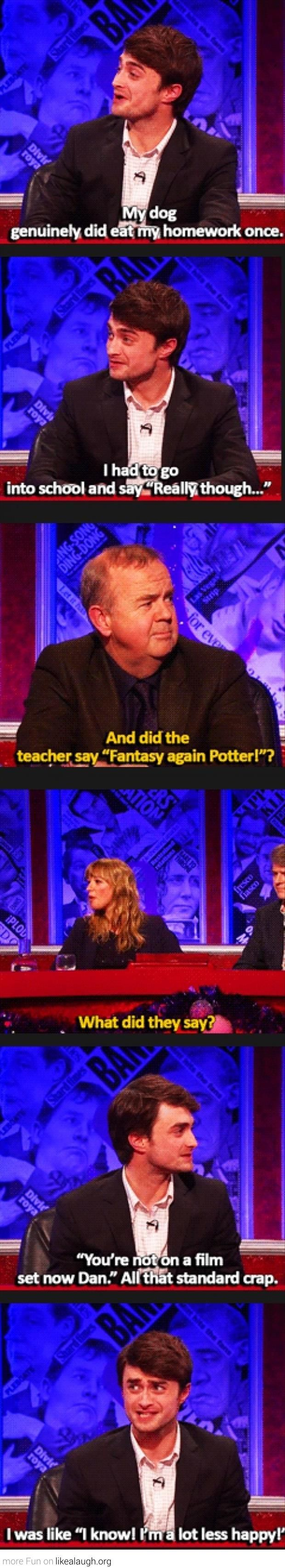 Daniel Radcliffe and his homework