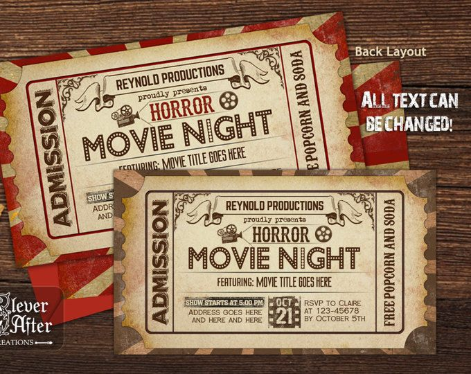 Horror Movie Night Invitation Halloween Scary Movie Marathon Ticket Invite Vintage fright scream fest sleepover night cinema movie pass