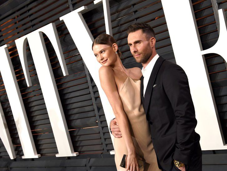 Pin for Later: Adam Levine and Behati Prinsloo's Romance Is as Perfect as a Sunday Morning  The stylish pair hit up the Vanity Fair Oscars afterparty in February.