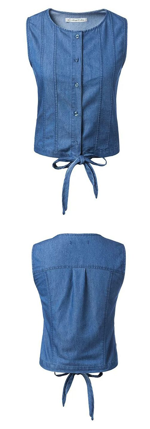 A Denim Top with special design that shows your best! The Modern Button with Bow cleans off all of your unhaapiness. This TOP is absolutely the best choice for you from OASAP.COM.