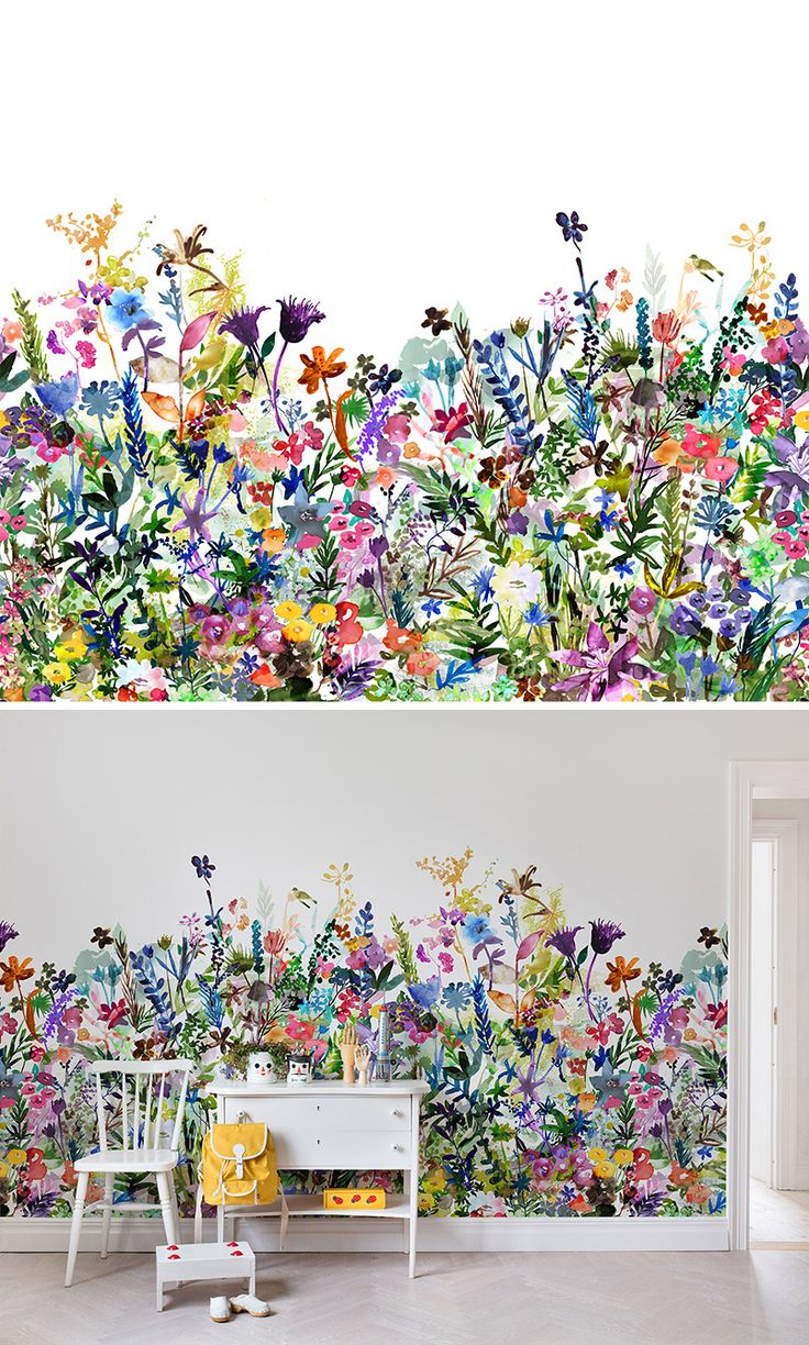 25 best ideas about kids murals on pinterest disney - Flower wallpaper mural ...
