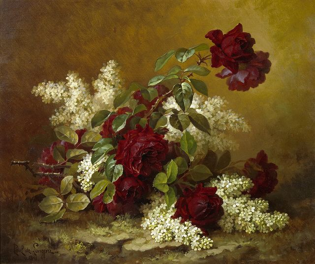 Paul de Longpré - Still Life With Red Roses And Lilacs  c.1891