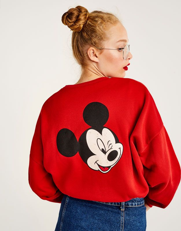 Pull&Bear - femme - vêtements - sweat - sweat mickey mouse - rouge - 09593262-I2017