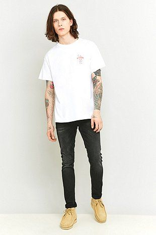 "Nudie Jeans – Skinny Jeans ""Lin"" in Black Waves"
