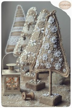 Christmas tress from burlap decorated with white (lace, pearls, bows and charms)--awesome!