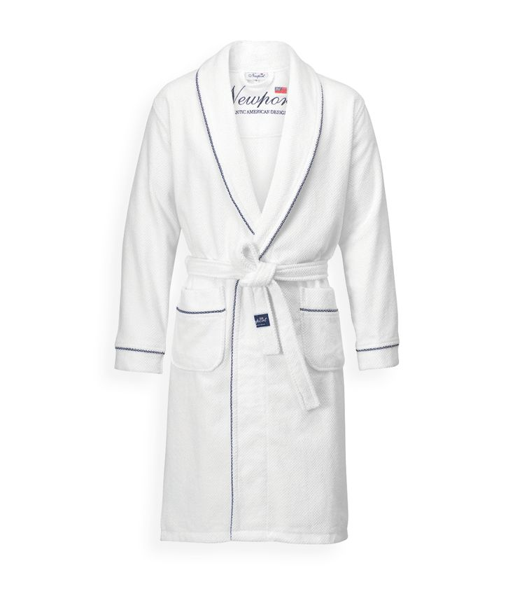 Maidstone Bathrobe. By Newport Collection. Stylish white bathrobe with blue/white stars piping. Made from 100% cotton in Turkey. Unisex. Öko-Tex. #Newport #Newportcollection #Maidstone #bathrobe
