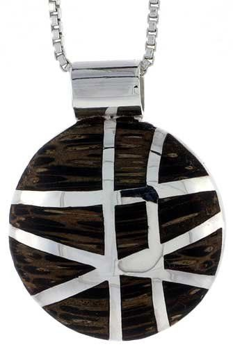 "Sterling Silver Round Slider Pendant, w/ Ancient Wood Inlay, 3/4 inch (20 mm) tall, w/ 18"" Thin Snake Chain Sabrina Silver. $81.30"