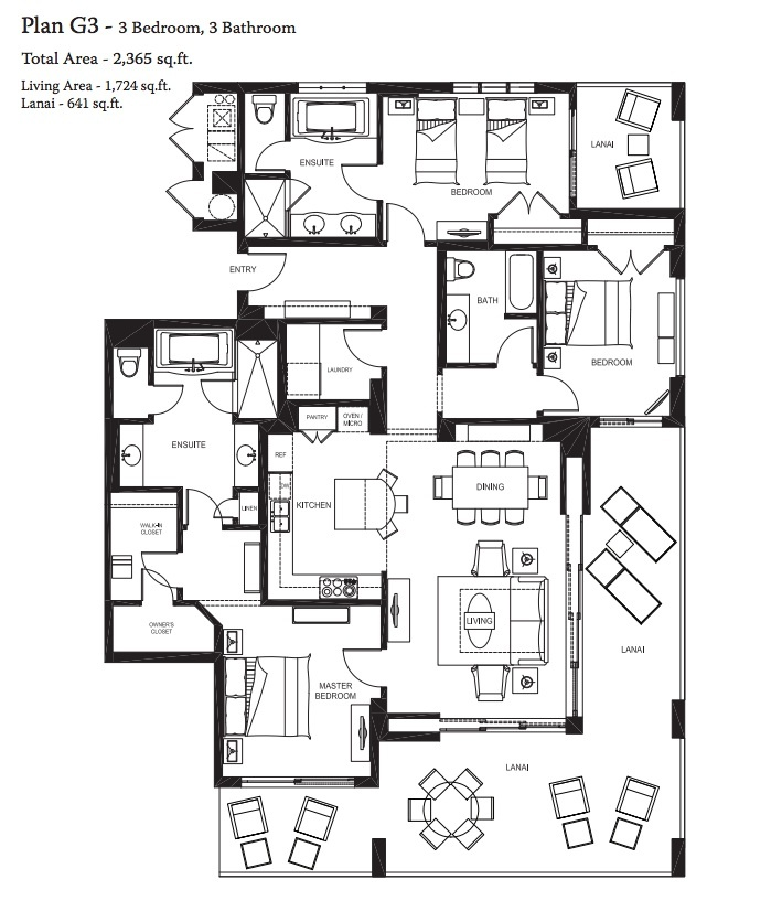 Our 3 bedroom,3 Bathroom Total Area- 2,365 sq.ft Living