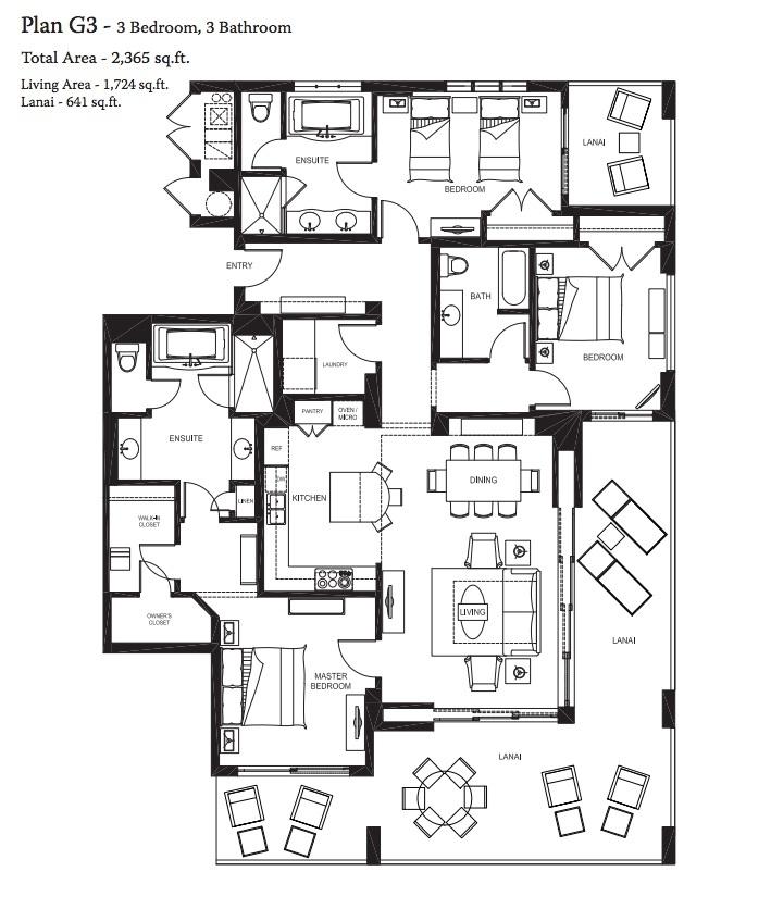 3 Bedrooms 2 Bath 2321 Sq Ft: Our 3 Bedroom,3 Bathroom Total Area- 2,365 Sq.ft Living