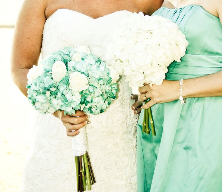 aqua/sea foam green tinted hydrangea wedding flower bouquet, bridal bouquet, wedding flowers, add pic source on comment and we will update it. www.myfloweraffair.com can create this beautiful wedding flower look.
