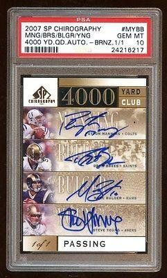 10 Quad Auto 1/1 Peyton Manning / Steve Young / Drew Brees /bulger 4000 Club - PSA/DNA Certified - Football Slabbed Autographed Cards >>> You can find out more details at the link of the image.