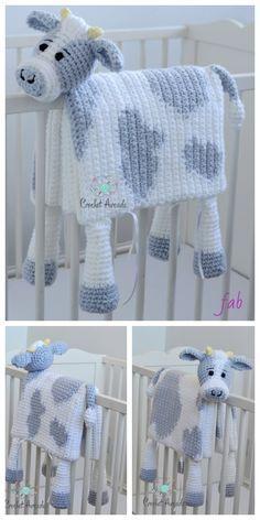 Häkeln Sie kuscheln und spielen Sie Kuh Baby Decke Häkelanleitung   – Macramé nœud