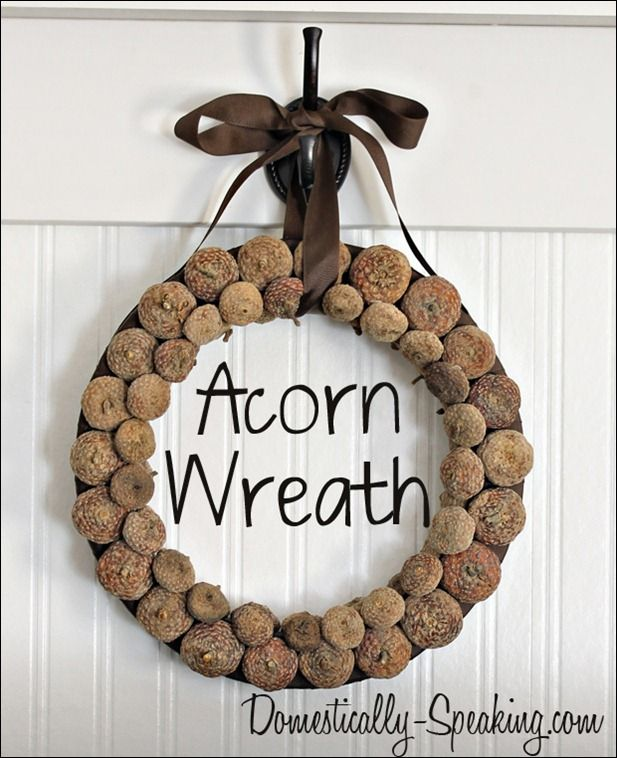 Acorn Wreath ~ perfect for fall - acorn tops glued to brown ribbon wrapped wreath with bow/ribbon hanger! /v