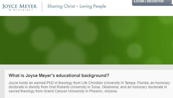 Evangelist Joyce Meyer Claims Earned PhD from Life Christian University, Missouri Law Forbids Use of False and Misleading Degrees // by Warren Throckmorton via Patheos.com