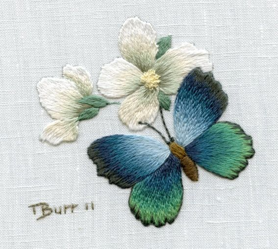Trish Burr Embroidery Kit Azure Butterfly by TRISHBURREMBROIDERY