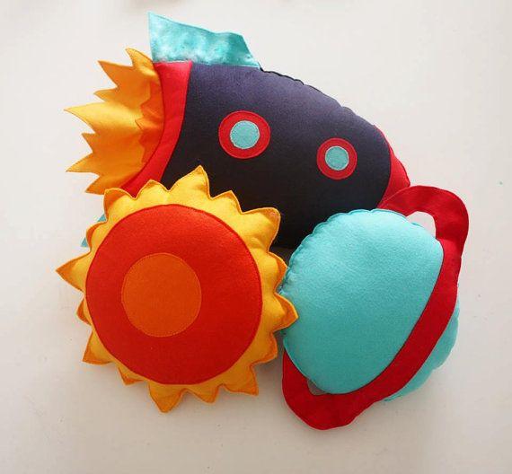 Kids Rocket Cushion set, boys room decor, girls room decor, rocketship, felt cushion, modern nursery, space theme