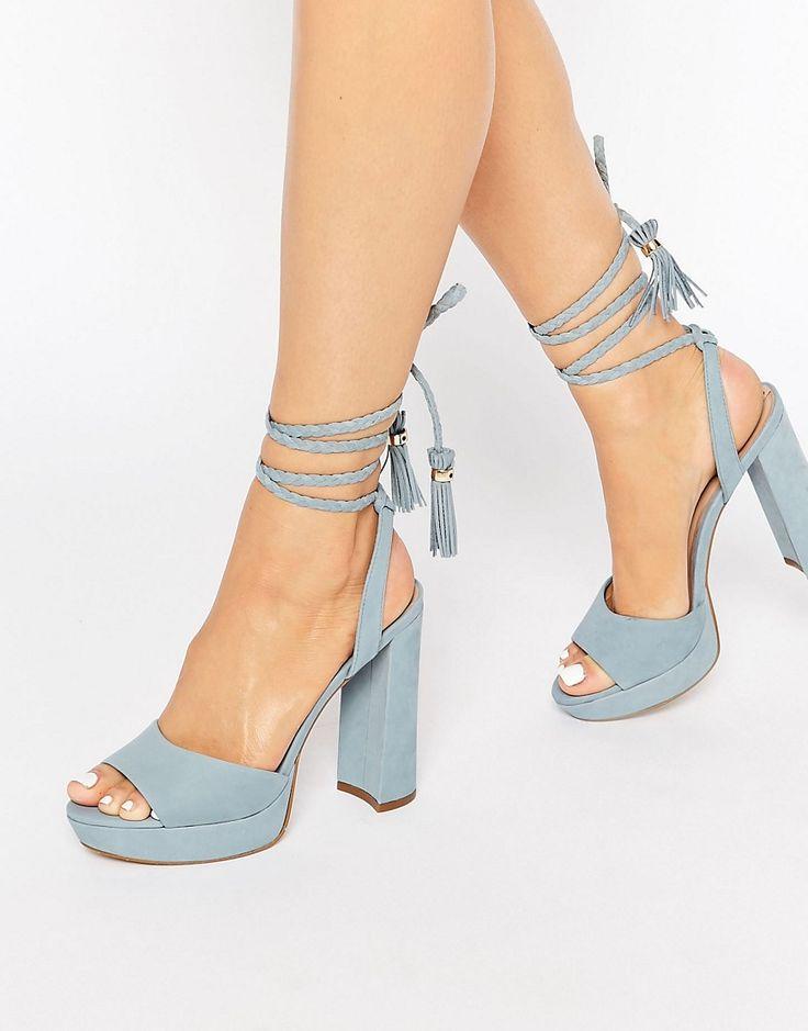 Image 1 ofALDO Chareri Blue Platform Sandal With Braided Ankle