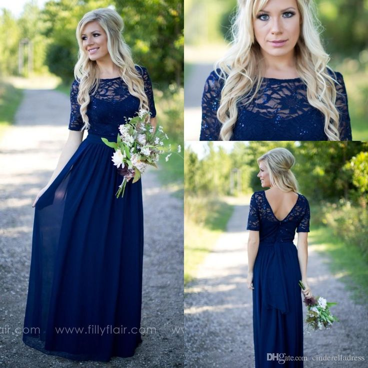 2016 Fresh New Navy Blue Half Sleeves Bridesmaid Dresses Chiffon Beach Sheer Evening Gowns Sequins Maid Of Honor Party Dress Cheap Bridesmaid Dress Colors Bridesmaid Dress Online From Cinderelladress, $88.63| Dhgate.Com