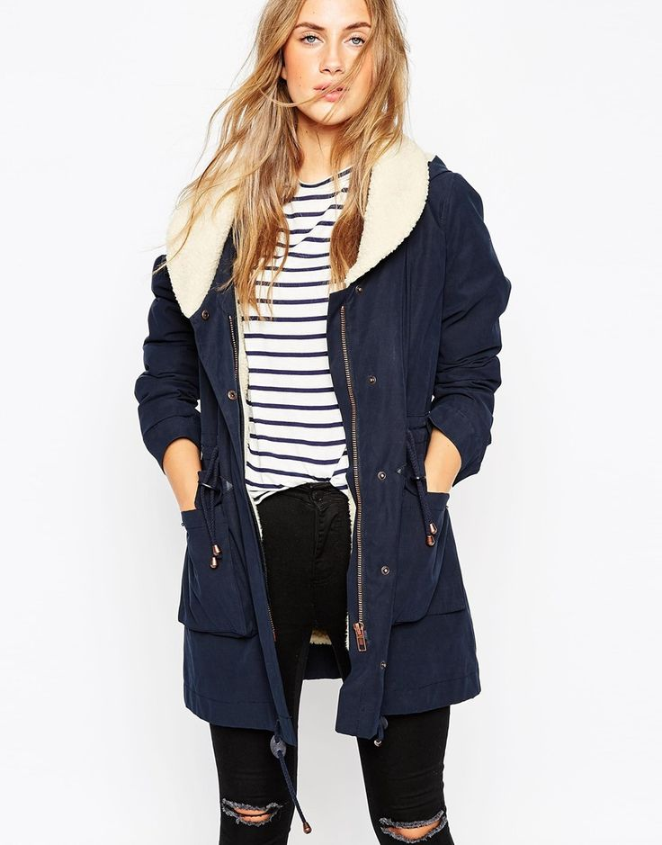 Image 1 ofASOS Parka With Shawl Collar And Patch Pocket