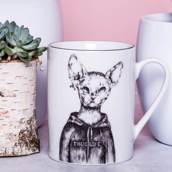 THUG LIFE MUG Devon Rex Cat Porcelain Mug by GiftWorkshopWarsaw