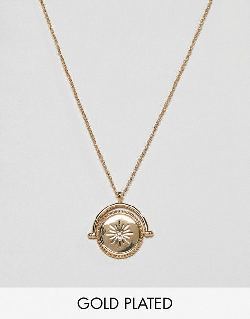 5d4bb60b2c8 ASOS DESIGN Premium gold plated necklace with spinning coin with moon and Swarovski  crystal star design