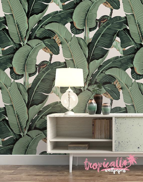 Banana Leaf Wallpaper Non Woven Wallpaper Floral von TropicWall Martinique style Tapete online Shop Etsy