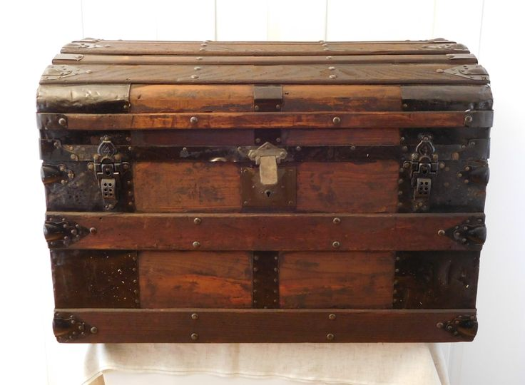 Victorian Camel Top Steamer Trunk, Late 19th Century Slight Dome Chest, Dark Brown Wood & Metal - pinned by pin4etsy.com