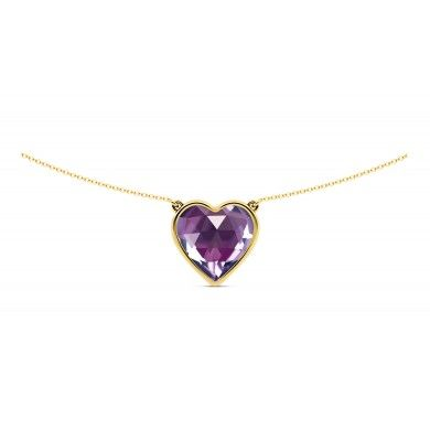 Amour Amethyst Necklace - Heart shaped cut purple amethyst pendant on a 18k gold chain that is a perfect anniversary or valentine's gift.