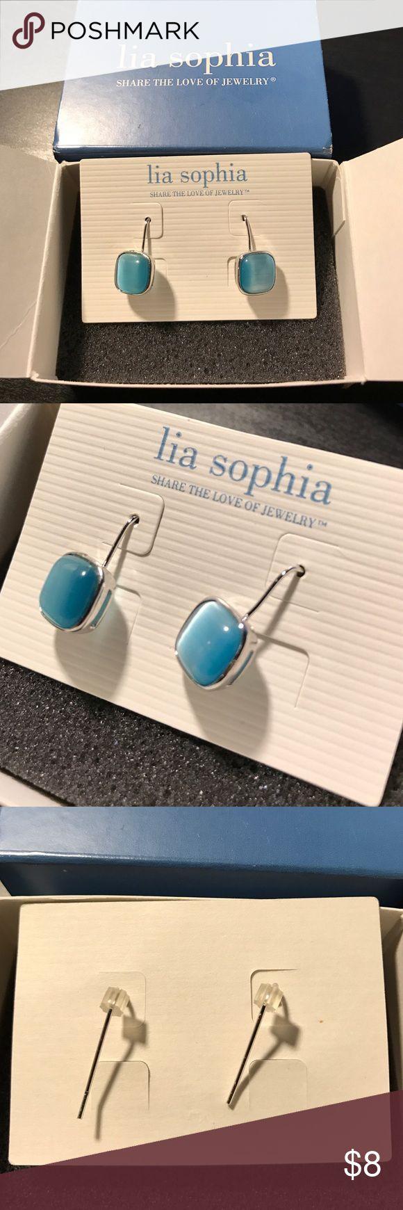 Lia Sophia earrings Brand new, never worn. Blue and silver Lia Sophia Jewelry Earrings