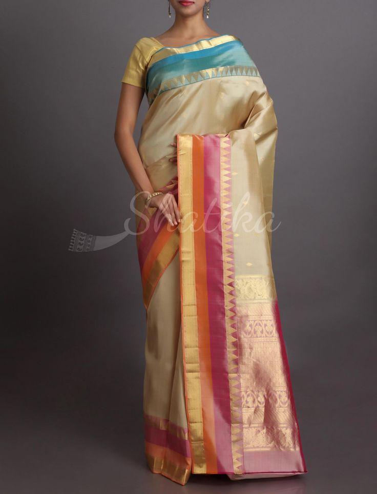 Shanaya Crimson Beige Wonder Bountiful #WeddingSilkSaree
