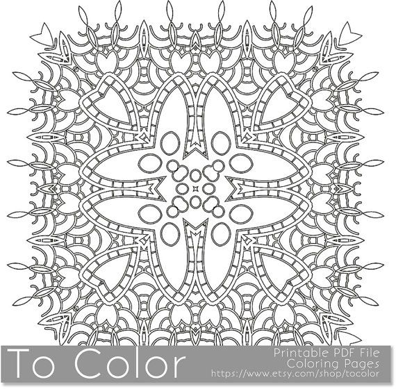 Printable Coloring Pages For Adults Mandala Snowflake Pattern PDF JPG Instant Download Book Sheet Grown Ups