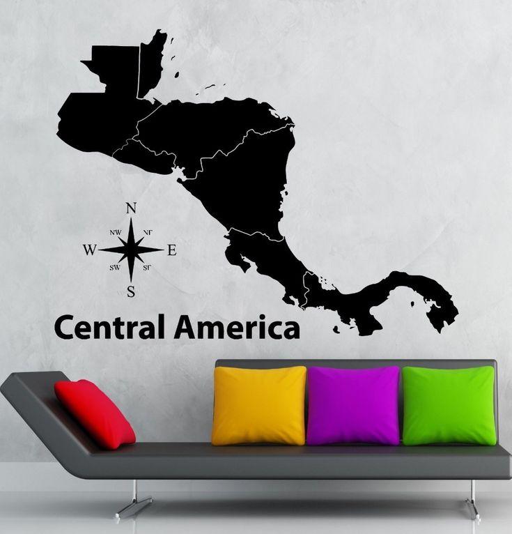 Центральная Америка Карта Стикера Muurstickers Плакаты Стены Винила Переводные Картинки Quadro Pegatina Parede Росписи Декора Америка Карта Стикер