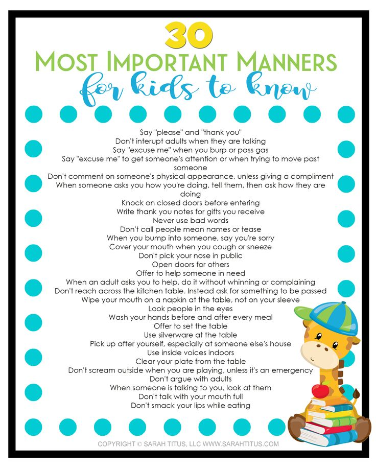 This 30 most important manners for kids to know free printable is so cute! I wish I had it when my kids were babies.