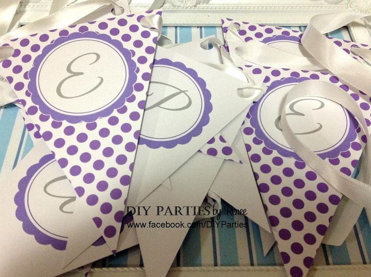 Table bunting - Polka Dot - Purple.  Find us on Facebook: www.facebook.com/DIYParties