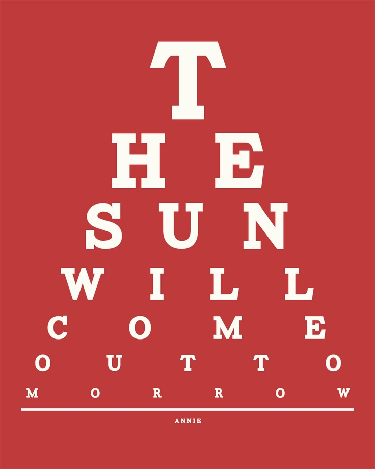 Best eye chart ever! The sun will come out tomorrow