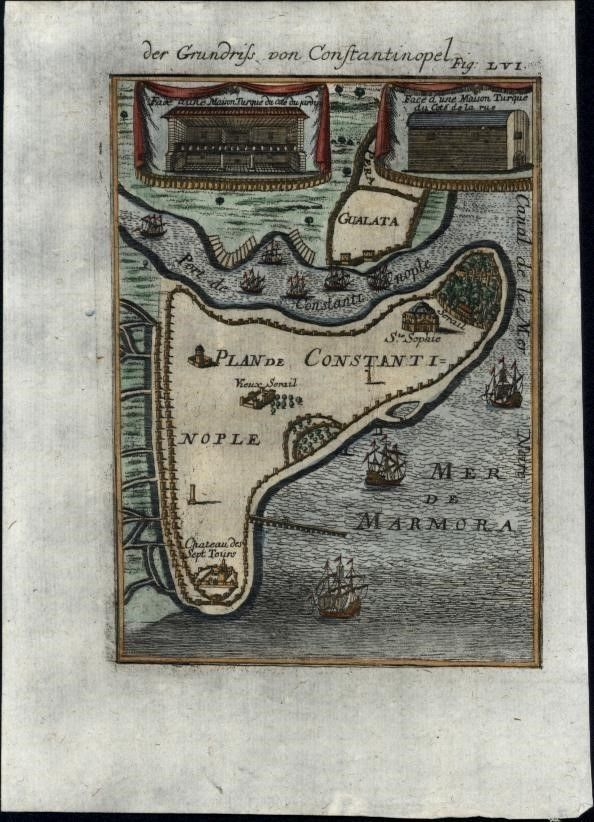 Constantinople Istanbul Turkey 1719 antique engraved early