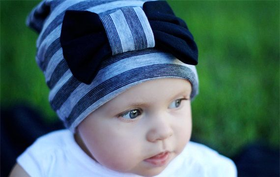 Grey Striped Jersey Knit Slouch Beanie with by RuffledFeathers3