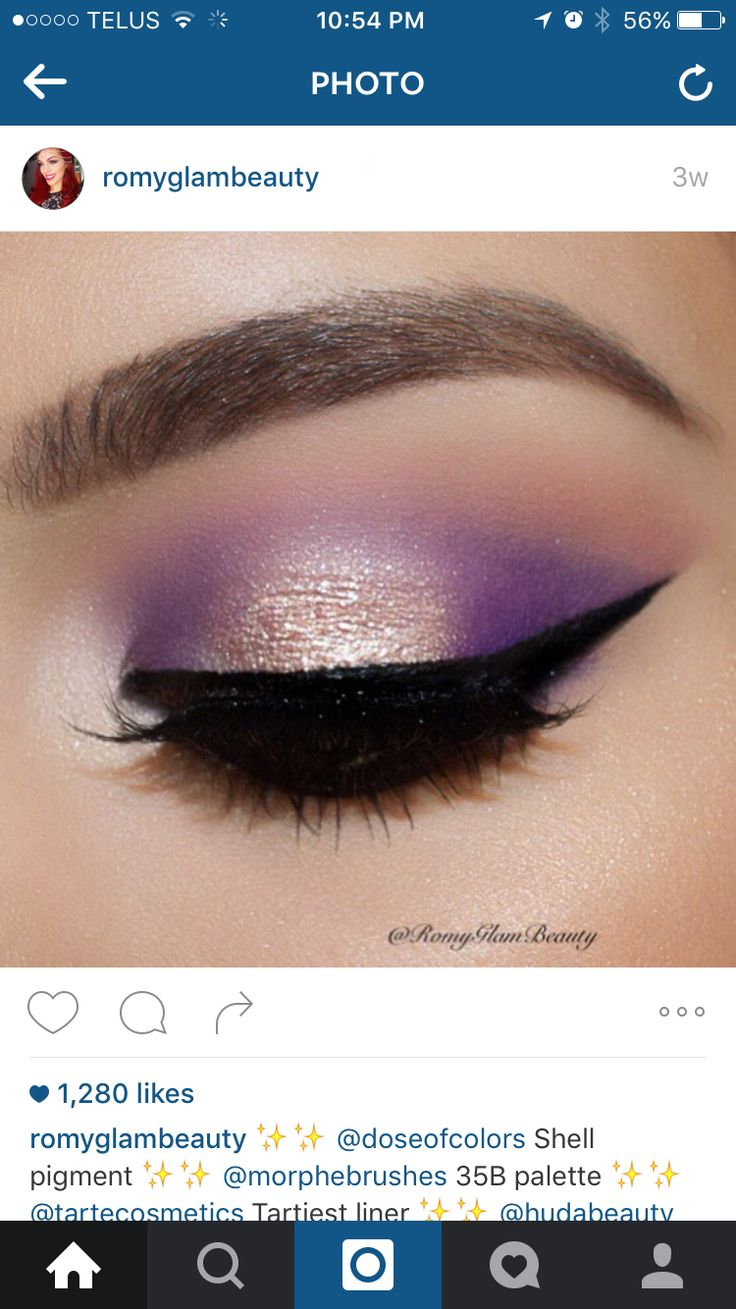 Purple eyeshadow and gold