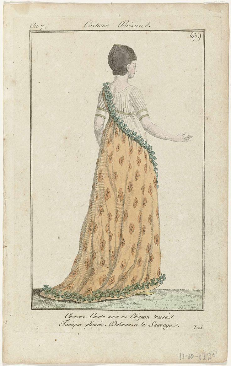 Anonymous   Journal des Dames et des Modes, Costume Parisien, 11 octobre 1798, An 7, (67) : Cheveux Courts..., Anonymous, Sellèque, Pierre de la Mésangère, 1798   Staande vrouw, op de rug gezien, met kort haar en een gevlochten knot met haarkam. Zij draagt een geplooide tuniek met korte mouwen. 'Doliman à la Sauvage', afgezet met klimop. platte schoen met puntige neus. Volgens het onderschrift is deze voorstelling naar het leven getekend in 'Tivoli'. De prent maakt deel uit van het…