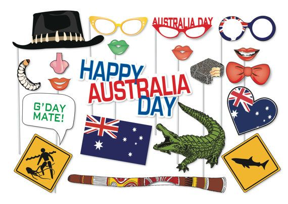 Great Australia Day Photo booth Party Props Set by TheQuirkyQuail