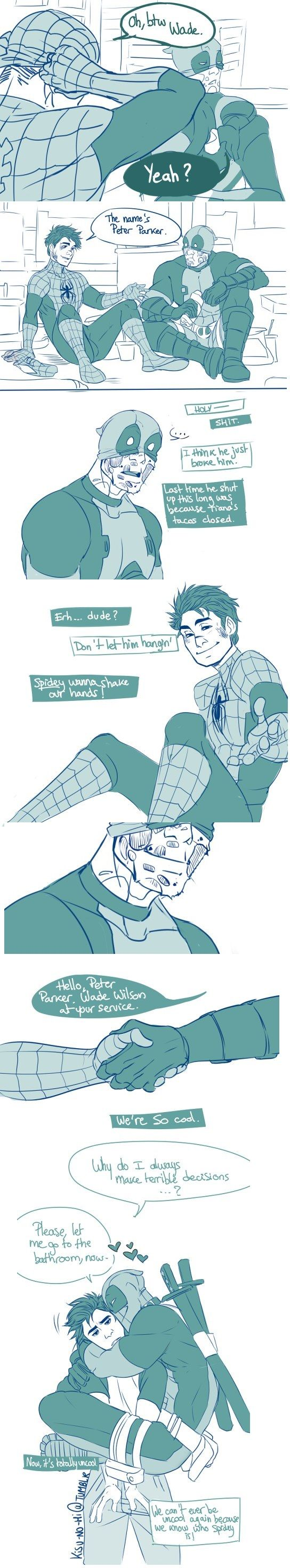 This is cute . I know it's not easy to be a Deadpool, you hear all the time two voices inside youre head discussing about EVERYTHING you do. And sometimes it's just a friend that you need to talk with. And that's why i love Deadpool. His live is difficult and he still fight back!!