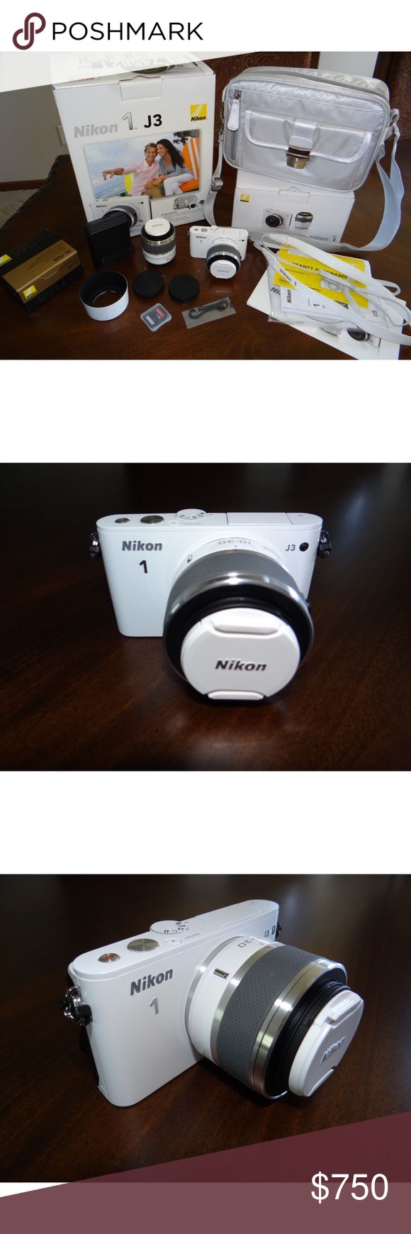 Nikon 1 J3 Digital Camera Practically new camera (comes with EVERYTHING, even original packaging)  Used only up to 3 times (indoors ONLY)  No signs of use!  No scratches on camera, lenses, or anything else that comes with it!  Takes really good quality photos and videos! Perfect for blogging/bloggers/traveling!  Please don't hesitate to ask any questions or ask for more photos, due to the limit of photo uploads!  Reason for sale: own 2 more professional cameras!  Paid $999 tax included…
