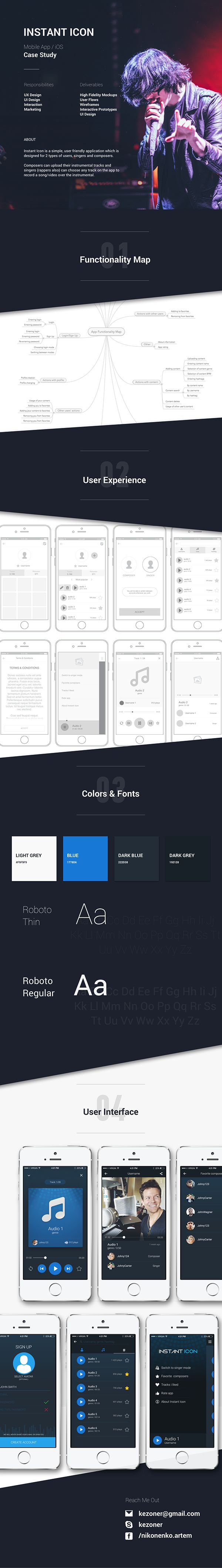 Instant Icon is a simple, user friendly application which is designed for 2 types of users, singers and composers. Composers can upload their instrumental tracks and singers (rappers also) can choose any track on the app to record a song/video over the instrumental.  Mobile application case study (UX and UI)