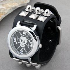 Skull Goth Leather Rock Bangle Wristwatch