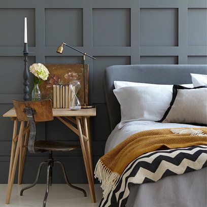 Outra composição de Cinza, Azul e Camelo. Agora num charmoso quarto. Incrível!
