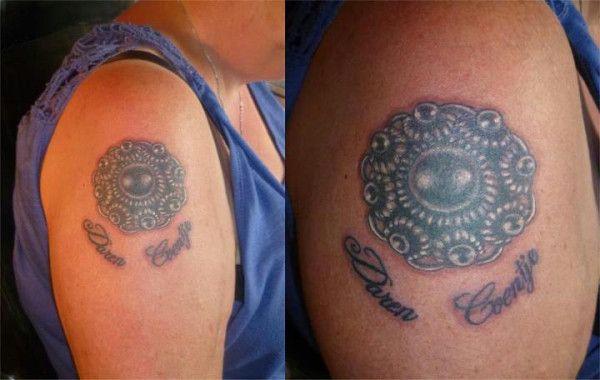 Me mams der nieuwe tattoo, een zeeuwse knoop  met de naam van me jongste ventje