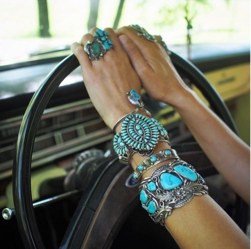 Inlaid turquoise in silver gorgeous jewelry details and Coachella inspiration. #2020AVEXCOACHELLA