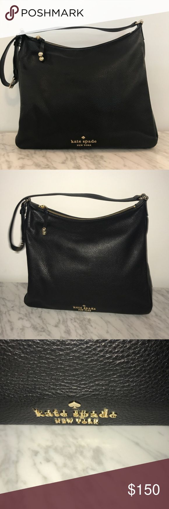 """NWOT authentic Kate spade hobo handbag. Never worn Soft pebbled leather kate spade hobo handbag in black.  13""""W x 11""""W x 5""""D.  strap long enough to fit comfortably over the shoulder. Fits small laptop and iPads easily. kate spade Bags Shoulder Bags"""