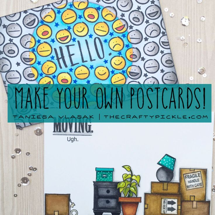 Create your own postcards | TheCraftyPickle.com Get your free postcard template too!