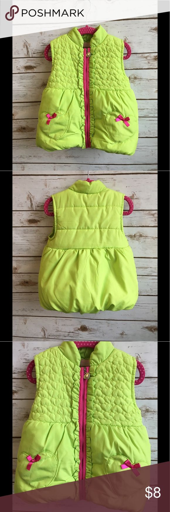 Little girls puffer vest lime green pink 3T hearts Little girls puffer vest lime green pink 3T hearts  Lime green with pink zipper and bows.  Pockets shaped as hearts.   Pre-owned. Worn and washed once.  No noted rips, stains or holes  Smoke free home.   -Bundle preowned kids clothes for a private discount- Kids Headquarters Jackets & Coats Vests